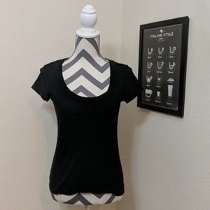 Ann Taylor LOFT Black Cotton Tee Shirt